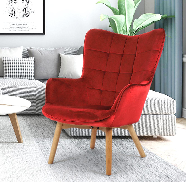 כורסא מעוצבת עם רגלי עץ מלא וריפוד קטיפתי דגם BOSTON בצבעים לבחירה