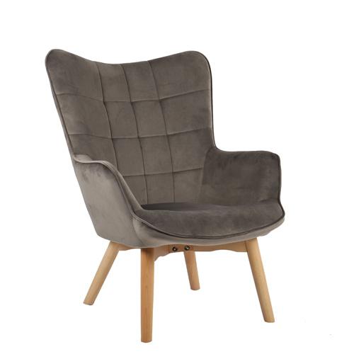 כורסא מלכותית מעוצבת עם רגלי עץ מלא וריפוד קטיפתי בצבעים לבחירה דגם בוסטון HOME DECOR - תמונה 2