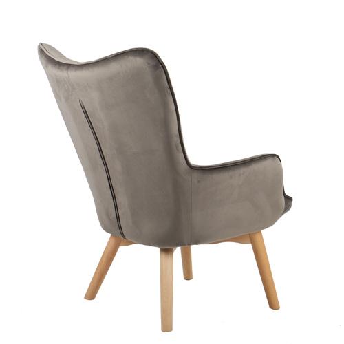 כורסא מלכותית מעוצבת עם רגלי עץ מלא וריפוד קטיפתי בצבעים לבחירה דגם בוסטון HOME DECOR - תמונה 4