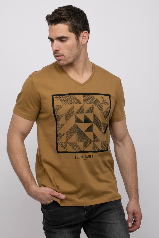 חולצת טי הדפס גאומטרי