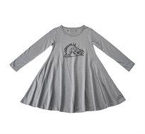 שמלת ג'רזי מסתובבת עם שרוול ארוך - אפור בשילוב הדפס חד קרן