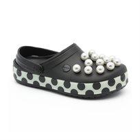 Crocs Crocband Timeless Clash Pearls Clog - כפכפים בצבע שחור עם קישוט פנינים בחזית וסוליה מוגבהת