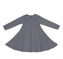 שמלת ג'רזי מודפסת עשירה בבד ומסתובבת - פסים דקים כחול לבן