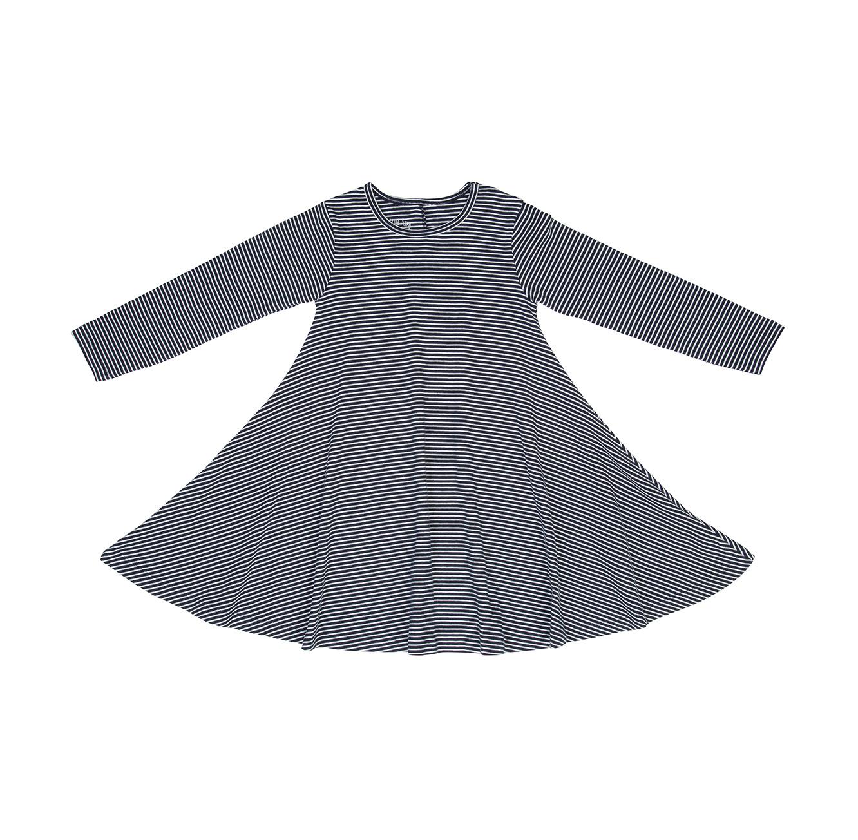 שמלת ג'רזי מודפסת ומסתובבת - פסים דקים כחול לבן