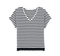 חולצת פסים עם שרוולים קצרים בצבע כחול לבן