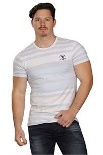 חולצת טישרט לגברים SLIM FIT בצבע לבן/אפור
