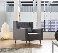 כורסא בריפוד בד עם רגלי עץ דגם טומי