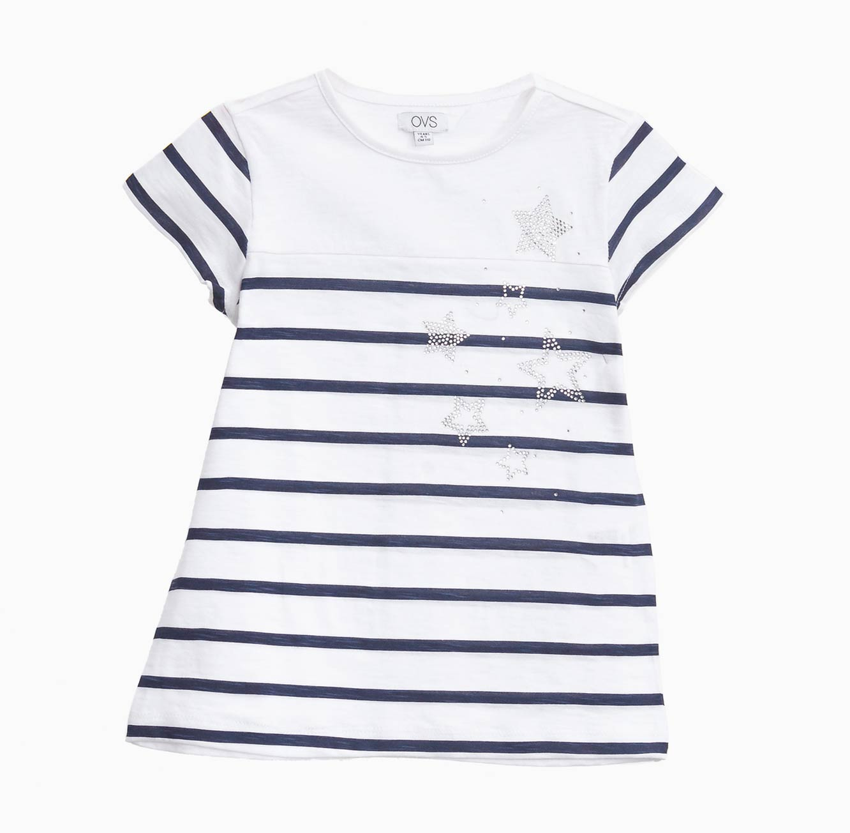 חולצת OVS פסים לילדות - כחול ולבן עם עיטורי כוכבים