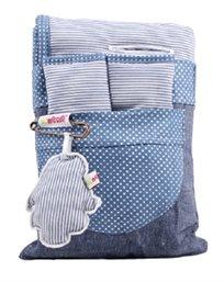סט ריפודית וחבקים - כחול פסים נק', מיננה