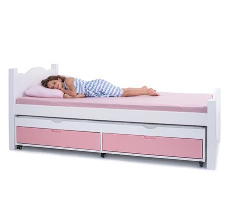 מיטה דגם נועם עשויה עץ מלא עם שני לוחות עץ בעיצוב גלי במגוון צבעים לבחירה HIGHWOOD - תמונה 3