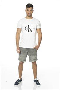 Ck גברים // טי - שרט לוגו לבן