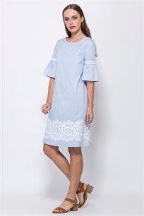 שמלת אריג בשילוב תחרה