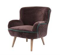 כורסת ישיבה מעוצבת דגם אריס ביתילי בעלת מושב מרווח ומרופד בבד קטיפה