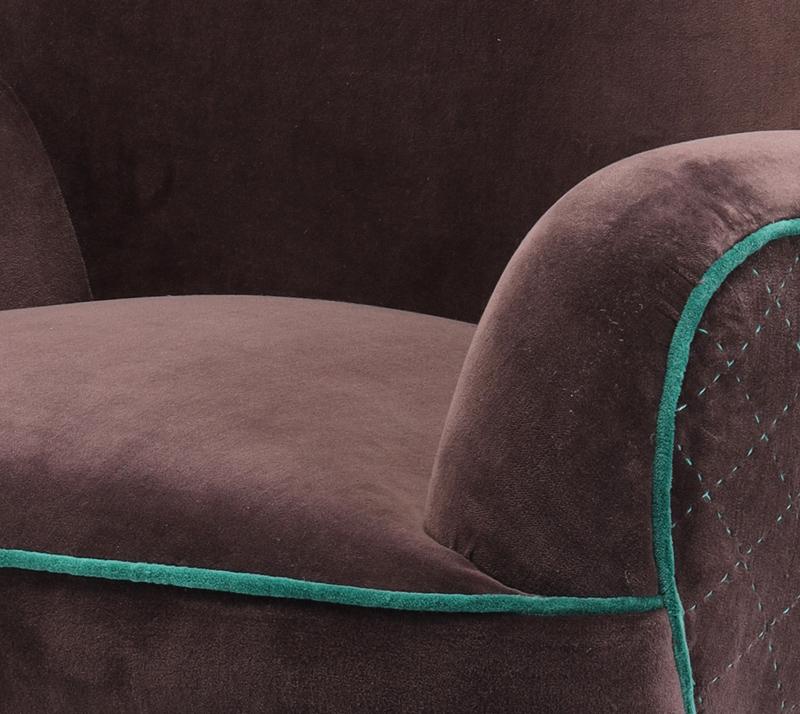 כורסת ישיבה מעוצבת דגם אריס ביתילי בעלת מושב מרווח ומרופד בבד קטיפה  - תמונה 5