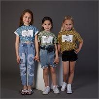 חולצת ORO לילדות (מידות 2-7 שנים) ירוק מנומר