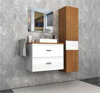 ארון אמבטיה תלוי עם משטח בוצ'ר לכיור צף ומגירות ומראה