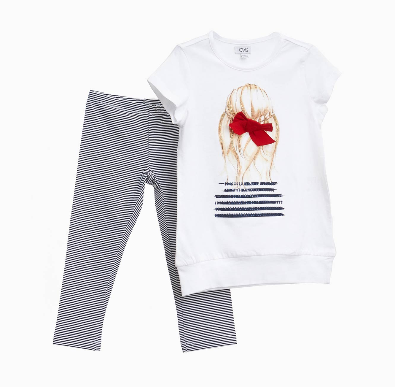 סט חולצה ומכנסיים OVS לילדות - שחור ולבן עם הדפס