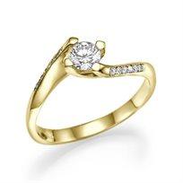 """טבעת אירוסין מיוחדת """"פאולינה"""" 0.41 קראט מעוצבת ונוצצת"""