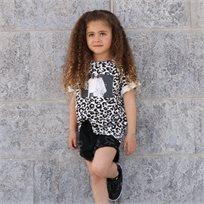 חולצת Oro לילדות (2-7 שנים) לבן מנומר