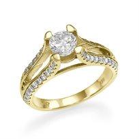 """טבעת אירוסין זהב צהוב """"קלייר"""" 1.23 קראט בשיבוץ 4 שורות יהלומים"""