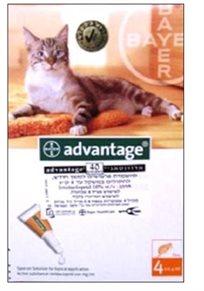 נגד פרעושים לחתול - טיפות אדוונטג' עד 4 ק''ג Advantage