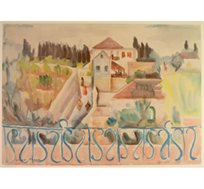 """""""נצרת - 1938"""" - ציורה של תג'ר ציונה, הדפס בחתימה אישית בגודל 50X70 ס""""מ"""