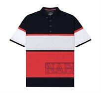 חולצת פולו עם הדפס לגברים - אדום/לבן/כחול כהה