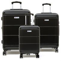American Travel - סט 3 מזוודות קשיחות בצבע שחור