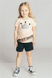 חולצת טריקו קצרה בהדפס כתר בשילוב מלמלה ולייקרה לבנות Kiwi בצבע אפרסק