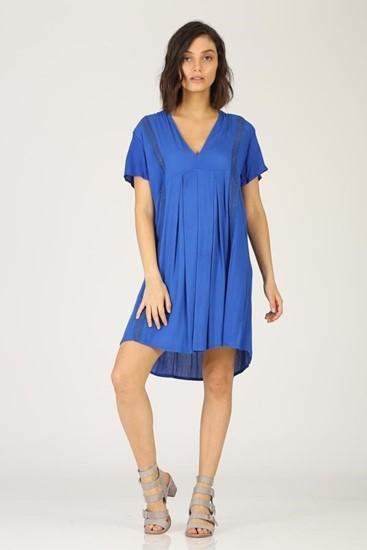 שמלה  עיטור קרושה עדין - כחול