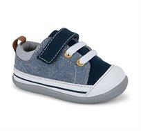נעלי טרום הליכה וצעד ראשון דגם סטיבי לבנים - כחול ג'ינס