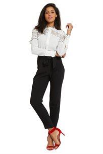 מכנס בד MORGAN ארוך עם חגורה לקשירה צבע שחור
