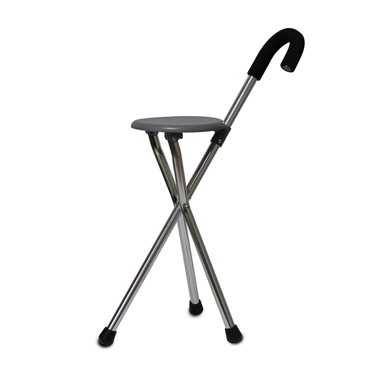 מקל הליכה מתקפל שהופך לכסא בעל 3 רגליים מאלומיניום