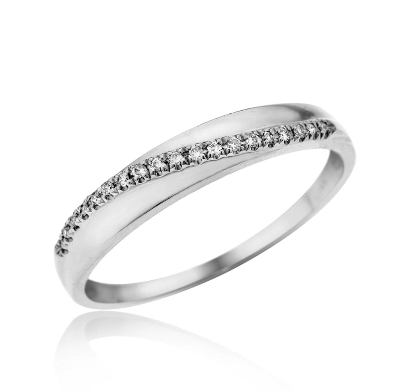 טבעת יהלומים 14 קרט זהב לבן