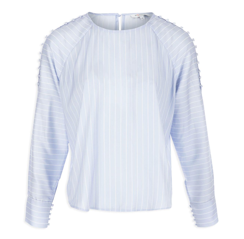 חולצת נאוטיקל מחויטת לנשים - תכלת