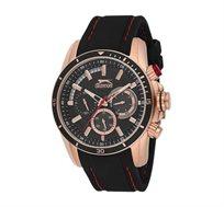 שעון מתכת לגבר  SLAZENGER עם רצועת סיליקון בצבע שחור ותפר אדום