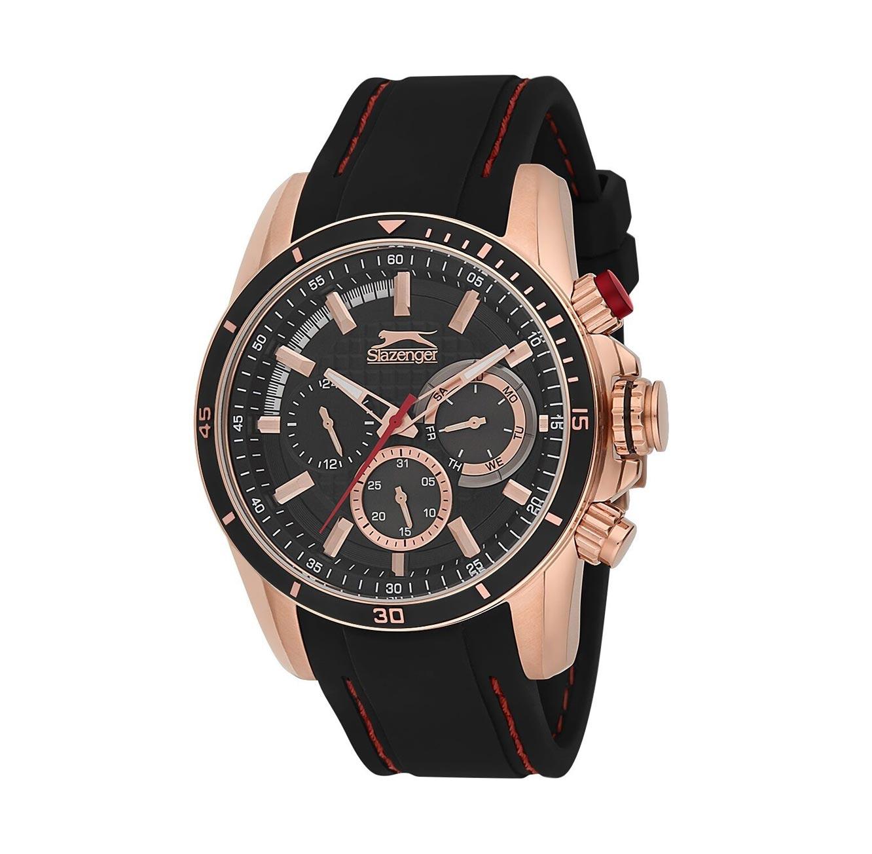 שעון מתכת לגברים SLAZENGER - רצועת סיליקון בצבע שחור ותפר אדום