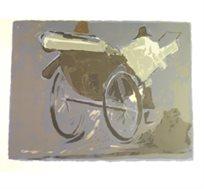 """""""ריקשה"""" - ציורה של פימה אפרים, ליטוגרפיה בחתימה אישית בגודל 57X71 ס""""מ"""