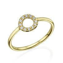 """טבעת יהלומים """"מעגל החיים"""" 0.15 קראט זהב צהוב"""
