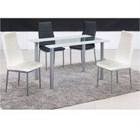 פינת אוכל עם 4 כסאות בגימור ראנר לבן דגם ZEBRA WHITE