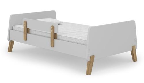 מיטת מעבר מעוצבת מיוז Muze עם מעקה נייד ניתן להסרה - אפור בהיר