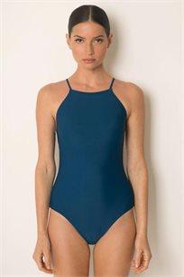 בגד ים שלם עם מחשוף סגור ורצועות מצטלבות נקשרות בגב בצבע כחול טורקיז