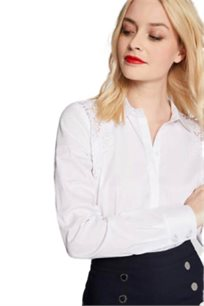 חולצה אלגנטית בשילוב תחרה MORGAN בצבע לבן