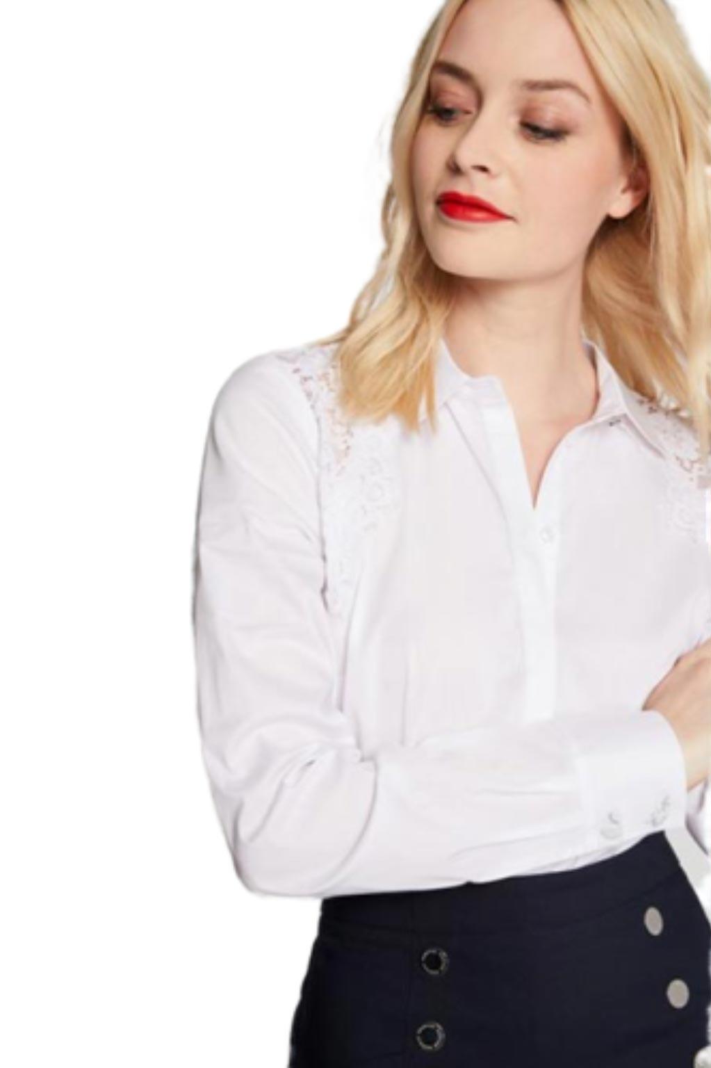 חולצה אלגנטית בשילוב תחרה MORGAN -לבן