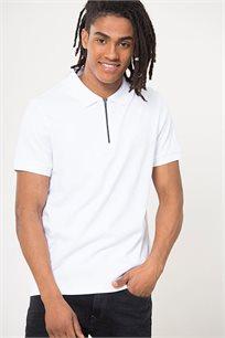 חולצת פולו חצי רוכסן לגברים - לבן