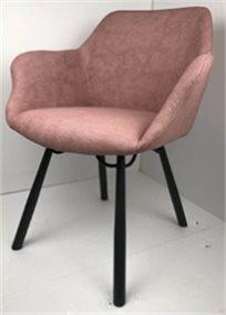 כיסא מעוצב דגם מג'יק מבד קטיפה איכותי צבע פודרה רגליים שחורות