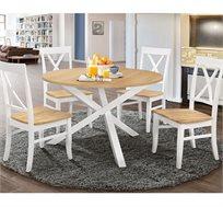 פינת אוכל עגולה מעץ מלא משולב כוללת שולחן ו-4 כסאות HOME DECOR דגם שירן