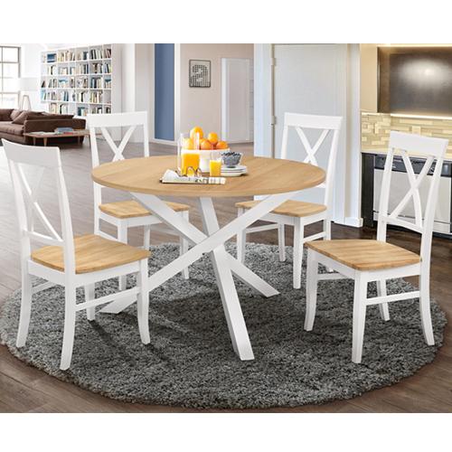 פינת אוכל עגולה כולל 4 כיסאות מעץ מלא דגם SHIRAN