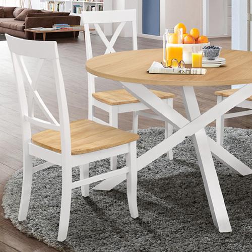 פינת אוכל עגולה מעץ מלא משולב כוללת שולחן ו-4 כסאות HOME DECOR דגם שירן - תמונה 2