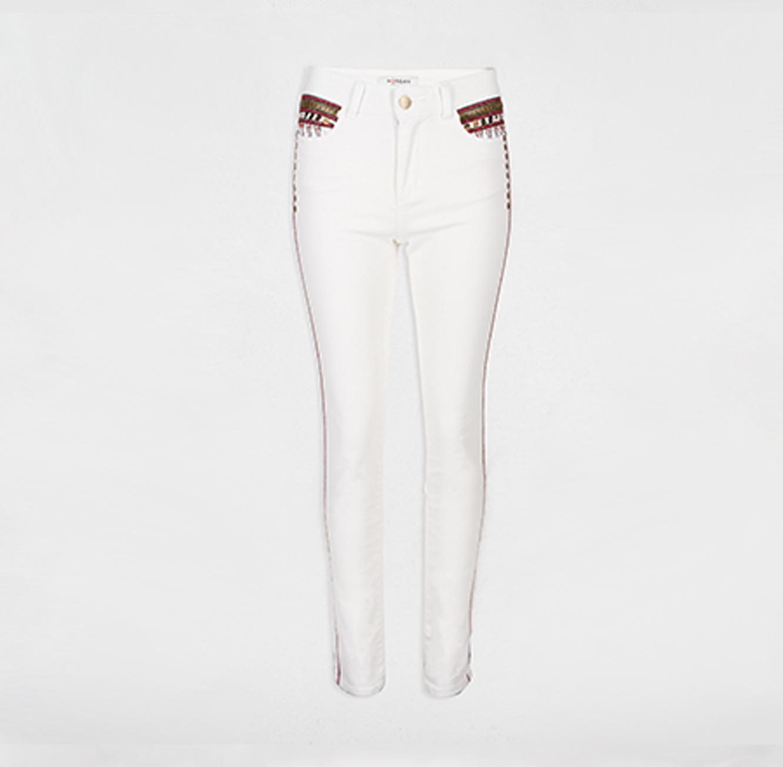 מכנסיים עם רקמת חרוזים MORGAN - לבן